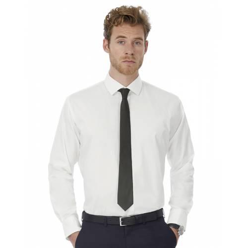 CSMP21 | Camicia uomo LS Poplin Black Tie Elastane