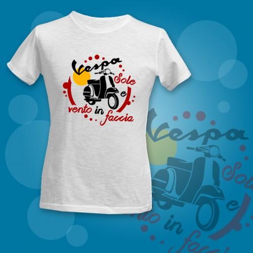 PRINT_I003 | T-shirt Personalizzata fiammata stampata - Vespa, sole e vento in faccia