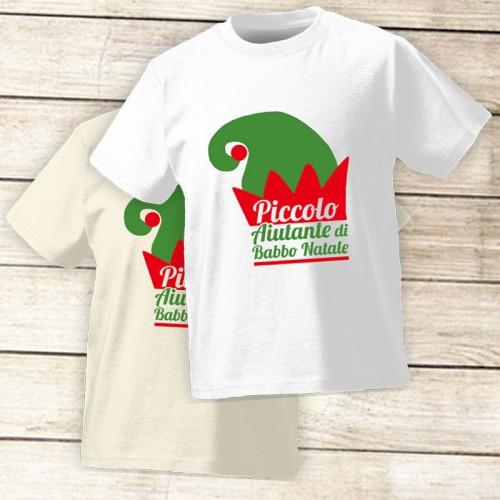 NATALE018 | T-shirt Personalizzata Bambini - Piccolo Aiutante di Babbo Natale