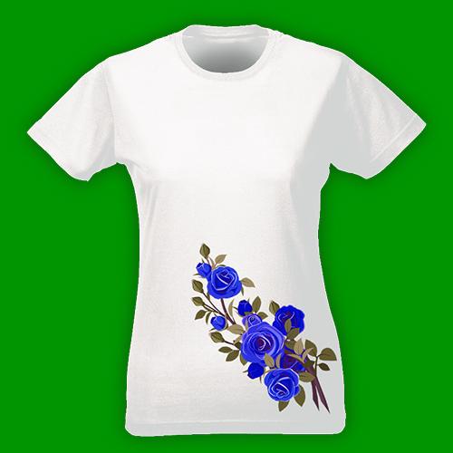 PRINT009 | T-shirt Personalizzata slim donna - Rose blu